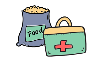 drawing of a bag of food and medical bag